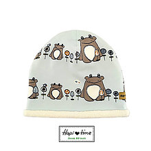 Detské čiapky - Modrá vyteplená bio čiapka - 11179458_