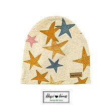 Detské čiapky - Bio čiapka s hviezdičkami - 11179729_