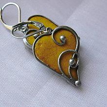 Náušnice - Srdiečka z lásky - žlté - 11178004_