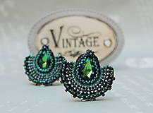 Náušnice - Visiace náušnice s brúseným skleneným kameňom Alexandra zelenomodré - 11179643_