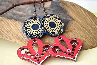 Náušnice - červeno-modré folk náušnice - 11178290_