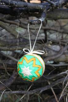 Dekorácie - Vianočná guľa - oranžovo/zelená - 11178181_
