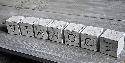 """Dekorácie - drevené kocky """"VIANOCE"""" - 11180959_"""