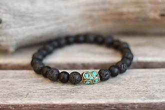 Šperky - Pánsky náramok z minerálu onyx, láva - 11180799_