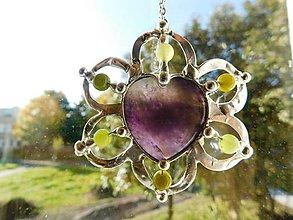 Náhrdelníky - Srdce kvetu - ametyst,jadeity,tiffany - 11184988_