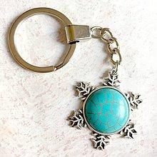 Kľúčenky - Tyrkenite Snowflake Keychain / Kľúčenka s tyrkenitom - snehová vločka - 11183247_