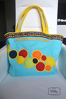 Veľké tašky - Veľká plážová šitá taška - tyrysová (9) - 11182960_
