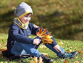 Detské súpravy - Detský set čiapka s nákrčníkom s koženým remienkom - 11181877_