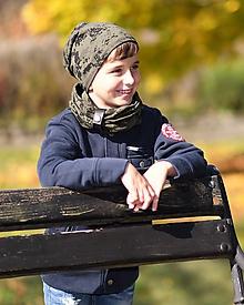 Detské súpravy - Detský set čiapka a nákrčník s koženým remienkom - 11184962_