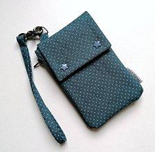 Taštičky - Puzdro-taštička na mobil bodkovaná modrej farby - 11181628_