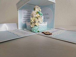 Papiernictvo - Svadobný exploding box s papierovou tortou (Bledomodrá) - 11183590_