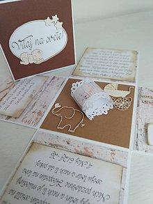 Papiernictvo - Exploding box k narodeniu babätka (Hnedá - drevená) - 11183998_