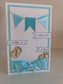 Papiernictvo - Pohľadnica k narodeniu dieťaťa  (Chlapčenská - dvojičky) - 11184094_