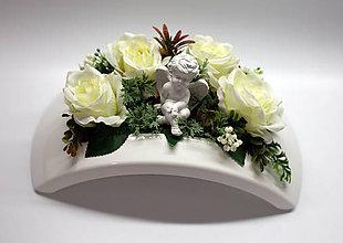 Dekorácie - Anjelik a biele ruže - 11185560_