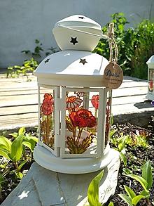 Dekorácie - Maľovaný lampáš divé maky - 11184678_
