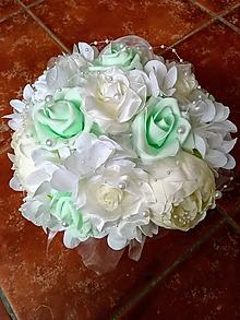 """Dekorácie - Kvetinová svadobná ikebana """"mentolovo-krémová"""" - 11182428_"""