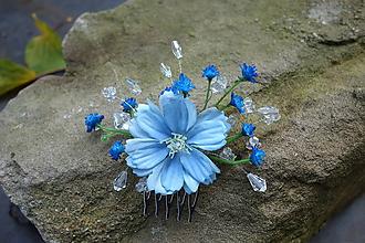Ozdoby do vlasov - hrebienok - modrý kvet - 11183956_