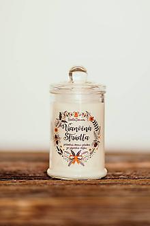 Svietidlá a sviečky - Sviečka zo sójového vosku v skle - Vianočná Štrúdľa 125g/30hod - 11182633_