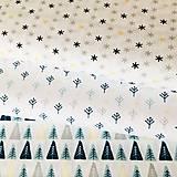 Textil - hviezdičky so zlatotlačou, 100 % bavlna Francúzsko, šírka 150 cm - 11182393_