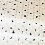 Textil - hviezdičky so zlatotlačou, 100 % bavlna Francúzsko, šírka 150 cm - 11182395_