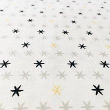 Textil - hviezdičky so zlatotlačou, 100 % bavlna Francúzsko, šírka 150 cm - 11182394_