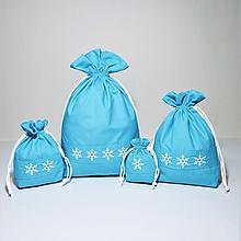 Úžitkový textil - Bavlnené vrecúško vyšívané vločky - 11181627_