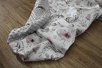 Textil - Minky deka Magnólie, viac farieb na výber,100x70cm, - 11184032_
