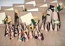 Darčeky pre svadobčanov - Ježkovia personalizovaní s 2 doplnkami - darčeky pre hostí/menovky - 11183403_