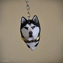 Kľúčenky - Sibírsky husky - kľúčenka, prívesok podľa fotografie psa - 11183429_