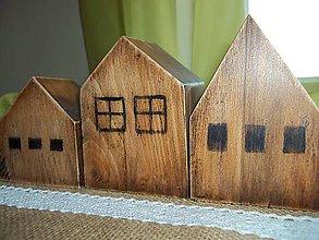 Dekorácie - Sada troch drevených domčekov - 11181945_