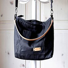 Veľké tašky - Veľká ľanová taška *black* - 11183226_