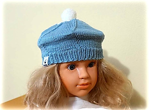 Detské čiapky - Detská baretka belasá - 11185103_