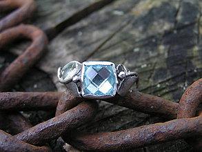 Prstene - Strieborny prsteň Ag 925 Modrý topás - 11181741_
