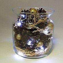 Dekorácie - ATÉNA - vianočná dekorácia - šišky so zlatom v skle - 11185058_