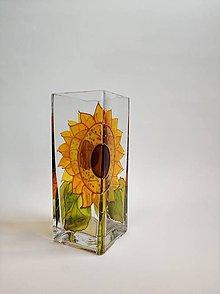 Dekorácie - Sklenená váza maľovaná - slnečnice - 11182797_