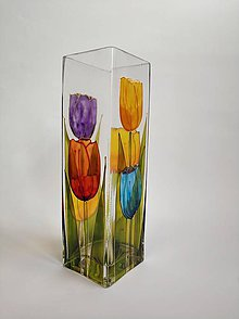 Dekorácie - Sklenená váza maľovaná - tulipány - 11182834_