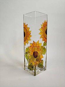 Dekorácie - Sklenená váza maľovaná - slnečnice - 11182895_