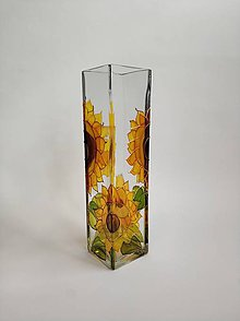 Dekorácie - Sklenená váza maľovaná - slnečnice - 11183216_