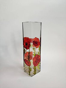 Dekorácie - Sklenená váza maľovaná - červené maky - 11183229_