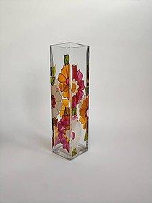 Dekorácie - Sklenená váza maľovaná - kvety - 11183415_