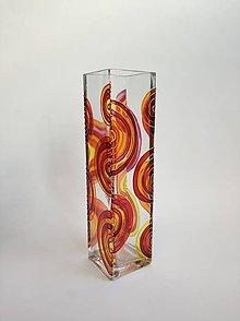 Dekorácie - Sklenená váza maľovaná - abstrakt - 11183425_