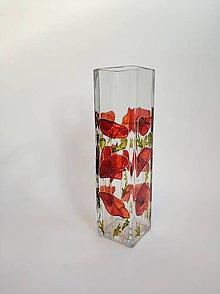 Dekorácie - Sklenená váza maľovaná - maky - 11183452_