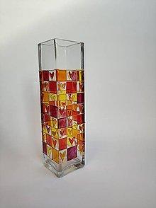 Dekorácie - Sklenená váza maľovaná - srdcia - 11183461_