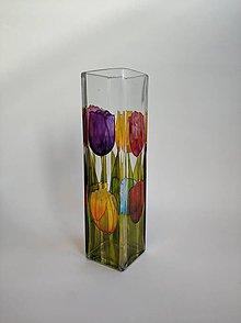Dekorácie - Sklenená váza maľovaná - tulipány - 11183465_