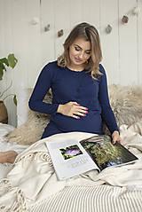 Tehotenské/Na dojčenie - Tehotenská nočná košeľa na dojčenie Navy Dlhý rukáv - 11183437_