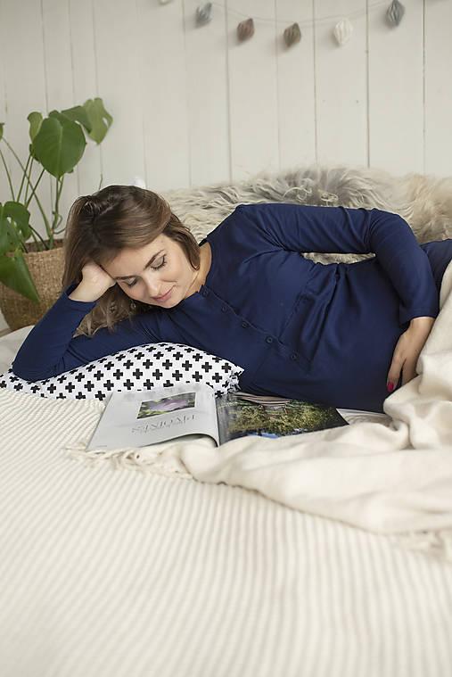 Tehotenská nočná košeľa na dojčenie Navy Dlhý rukáv