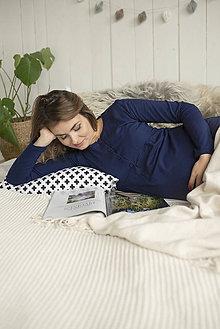 Tehotenské/Na dojčenie - Tehotenská nočná košeľa na dojčenie Navy Dlhý rukáv - 11183439_