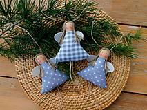 Dekorácie - Vianočný anjelik v sivom - 11181703_