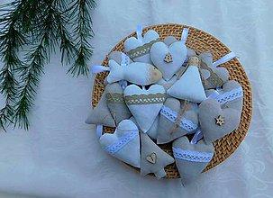 Dekorácie - Ľanové, bielo-prírodné ozdoby na stromček - 11182813_