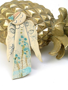 Dekorácie - anjel dlhy tyrkysový  (Biela modrá) - 11182973_